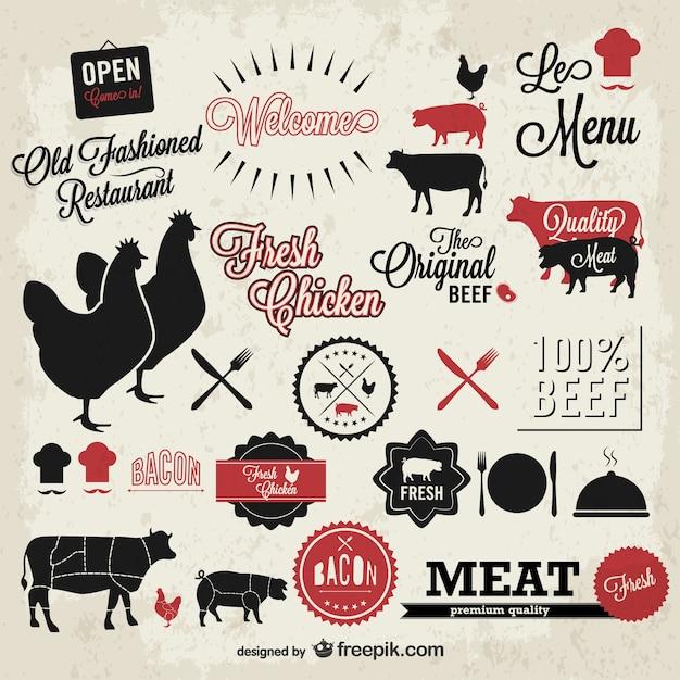 Vecteur viande symboles vintage fixés Vecteur gratuit