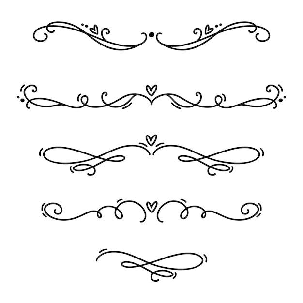 Vecteur vintage ligne élégante diviseurs de valentine et séparateurs, des tourbillons et des ornements décoratifs coins. Vecteur Premium