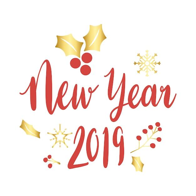 Vecteur de voeux de nouvel an 2019 Vecteur gratuit