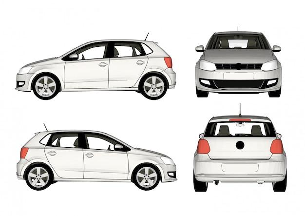 Vecteur de voiture blanche, toutes les vues Vecteur Premium