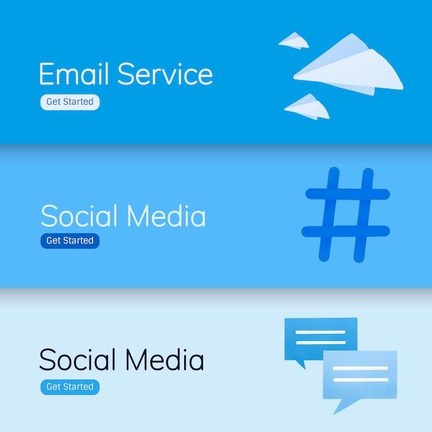 Vecteurs de bannière d'application de médias sociaux Vecteur gratuit