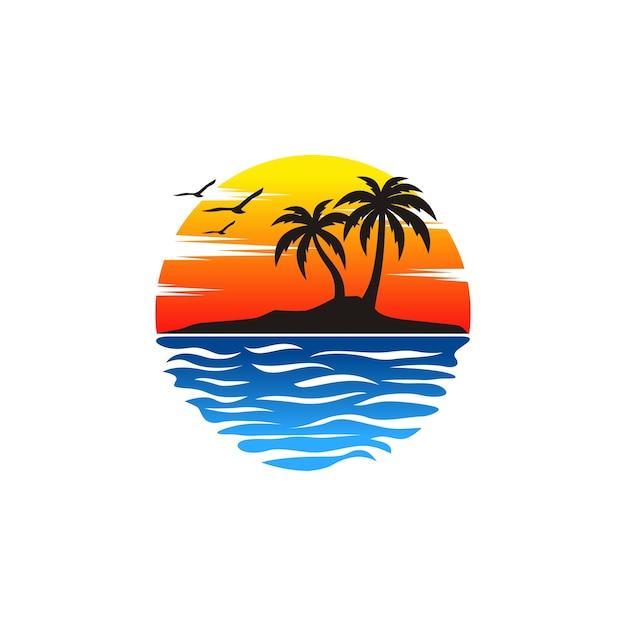 Vecteurs de logo de plage Vecteur Premium