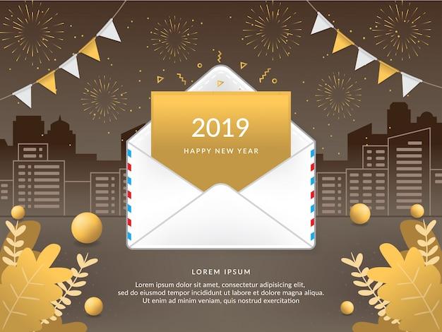 Vector 2019 bonne année avec enveloppe de courrier Vecteur Premium