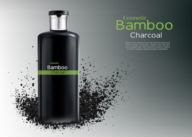 Vector 3d affiche publicitaire réaliste avec des cosmétiques de charbon de bois Vecteur gratuit