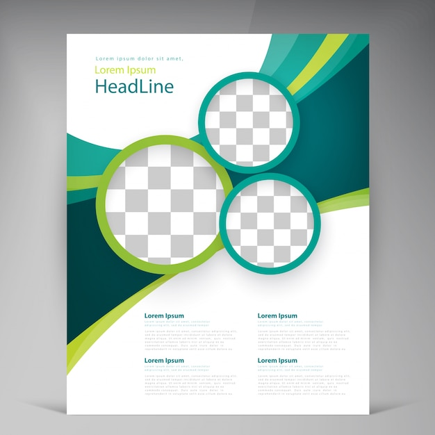 Vector abstract template design flyer, cover with turquoise and green multicayer stripes Vecteur gratuit