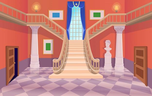 Vector Ancienne Salle De Hall Avec Escaliers, Portes Et Une Fenêtre. Illustration De Dessin Animé. Vecteur Premium