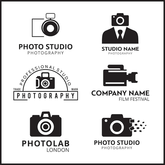 Vector Black Icons For Photographers 6 Vecteur gratuit