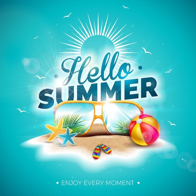 Vector bonjour illustration de vacances d'été avec lettre de typographie et lunettes de soleil Vecteur Premium