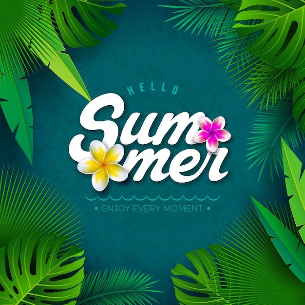 Vector bonjour summer illustration avec des feuilles de palmier tropical Vecteur Premium
