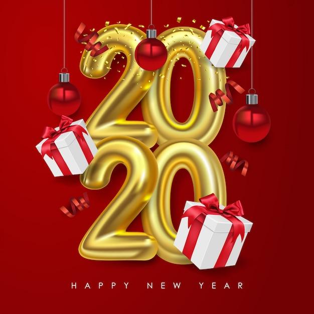 Vector Bonne Année 2020. Numéros Métalliques 2020 Avec Le Coffret Cadeau Et Boules De Noël. Fond Rouge Vecteur Premium