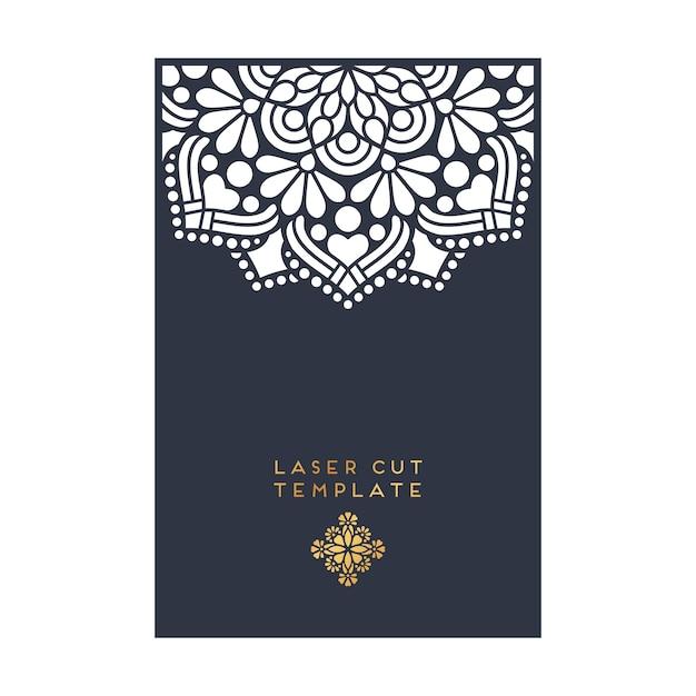 Vector carte de mariage modèle de coupe laser vintage éléments décoratifs Vecteur gratuit