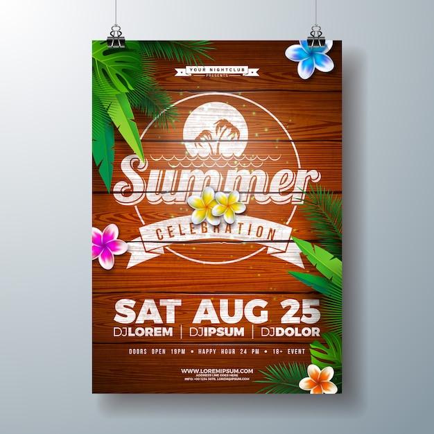 Vector design flyer fête de l'été avec des fleurs et des feuilles de palmier tropical Vecteur Premium