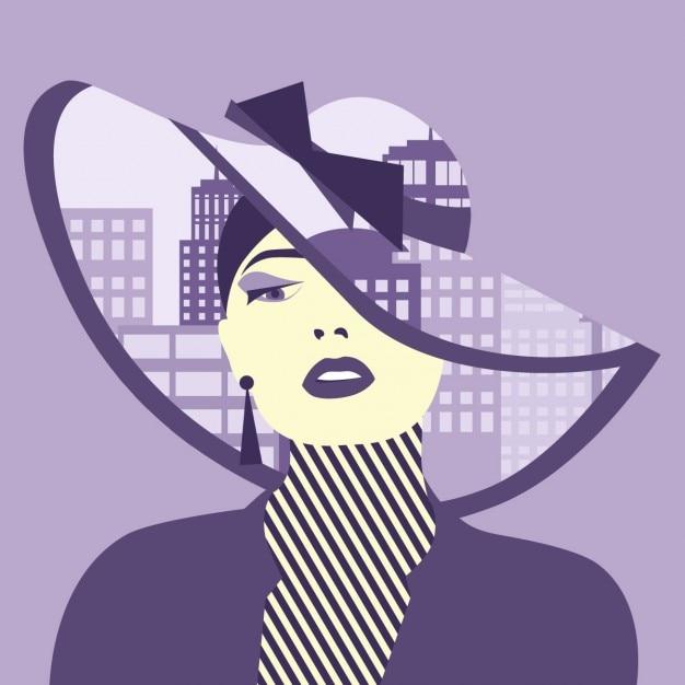 Vector double exposition illustration femme sexy avec la ville dans son chapeau Vecteur gratuit