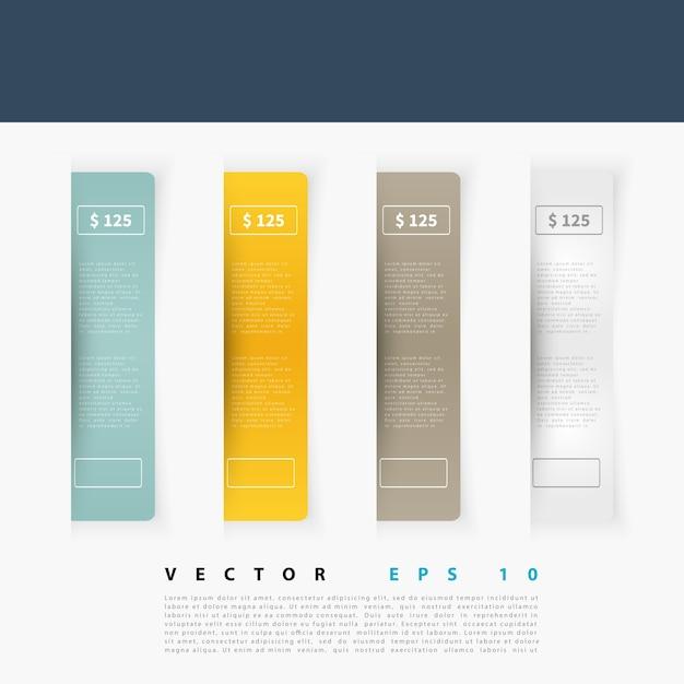 Vector Ensemble D'étiquettes Rectangulaires Vierges Vecteur gratuit