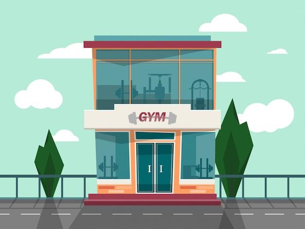 Vector façade de façade de magasin de gym. Vecteur Premium