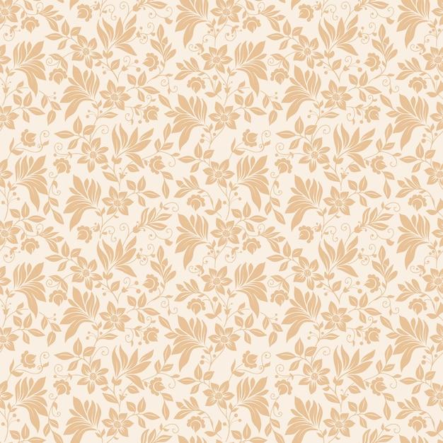 Vector flower seamless pattern background. texture élégante pour les arrière-plans. ornement floral à l'ancienne à la décoration classique, texture sans soudure pour papiers peints, textile, emballage. Vecteur gratuit