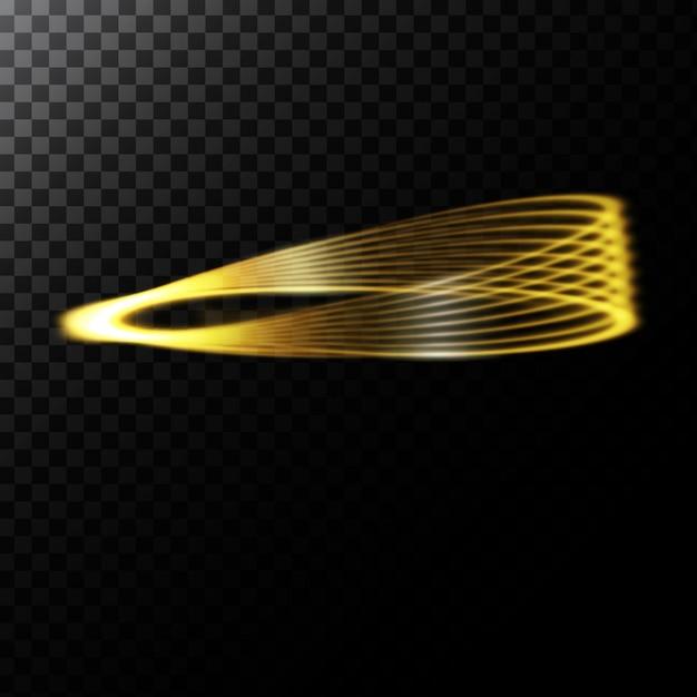 Vector illustration abstraite d'un effet de lumière en forme de cercles d'or Vecteur gratuit