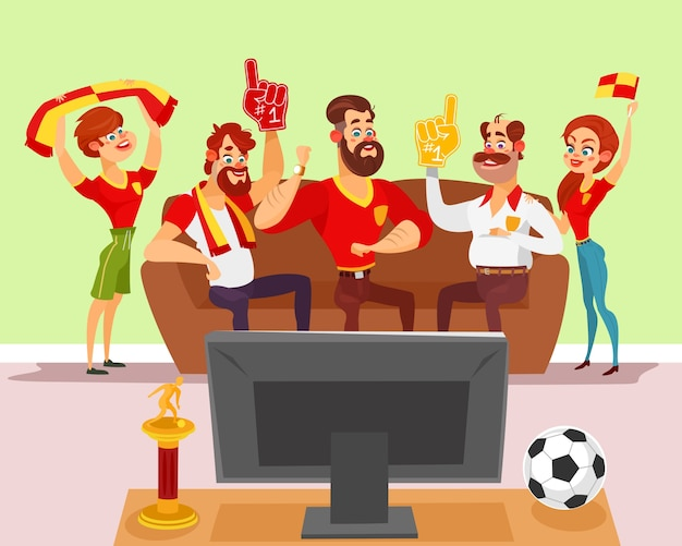 Vector illustration de bande dessinée d'un groupe d'amis regardant un match de football à la télé Vecteur gratuit