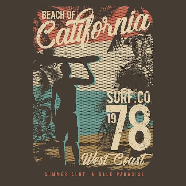 Vector illustration design de surf avec style grunge Vecteur Premium