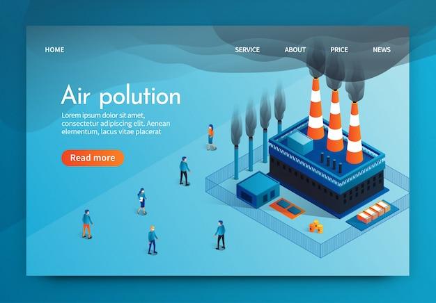 Vector illustration est written air polution 3d. Vecteur Premium