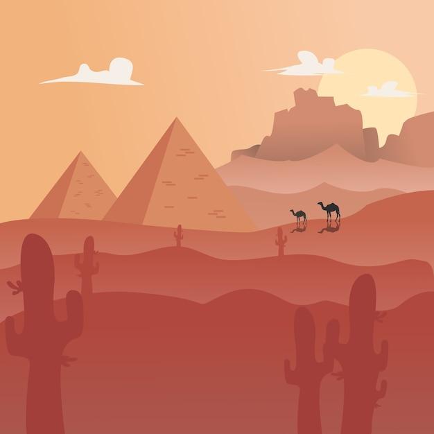 Vector illustration: fond de désert paysage plat Vecteur Premium