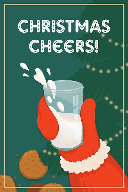 Vector Illustration De Noël Père Noël Avec Du Lait Et Des Biscuits Cheers Vecteur Premium