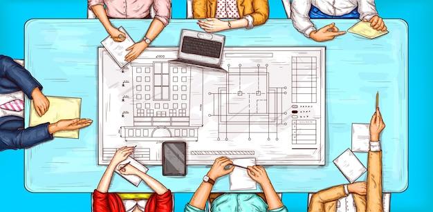 Vector illustration de pop art d'un homme et d'une femme assise à une table de négociation vue de dessus Vecteur gratuit