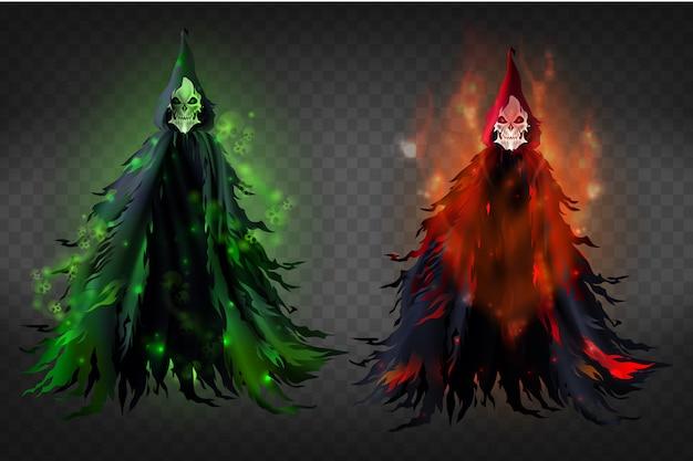 Vector illustration réaliste 3d de la mort - horrible reaper en noir raté Vecteur gratuit