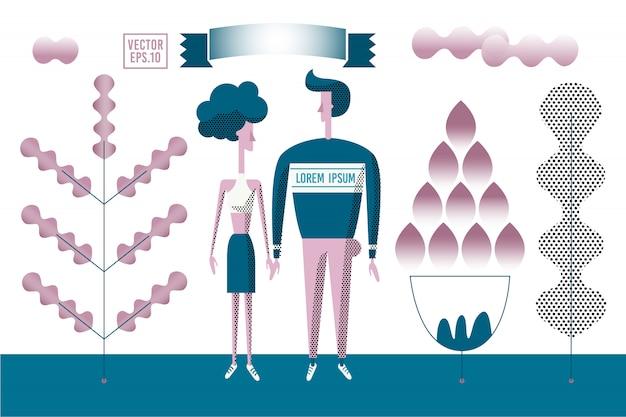Vector illustration romantique stylisée. homme et femme marchant en plein air dans le parc. Vecteur Premium