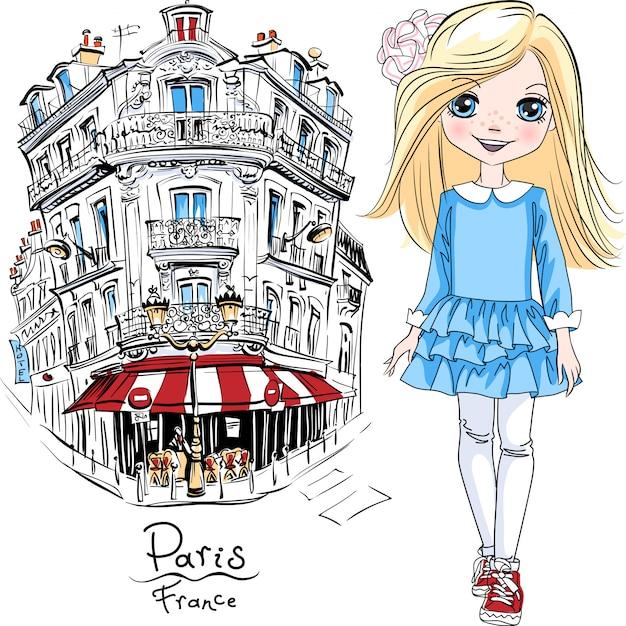 Vector Jolie Fille Blonde En Robe Bleue Et Baskets à Paris, France Vecteur Premium