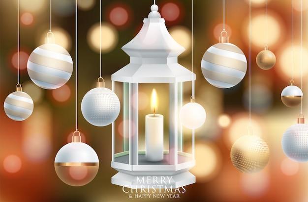 Vector Joyeux Noël Et Bonne Année Carte De Voeux étiquette Décorée Vecteur Premium