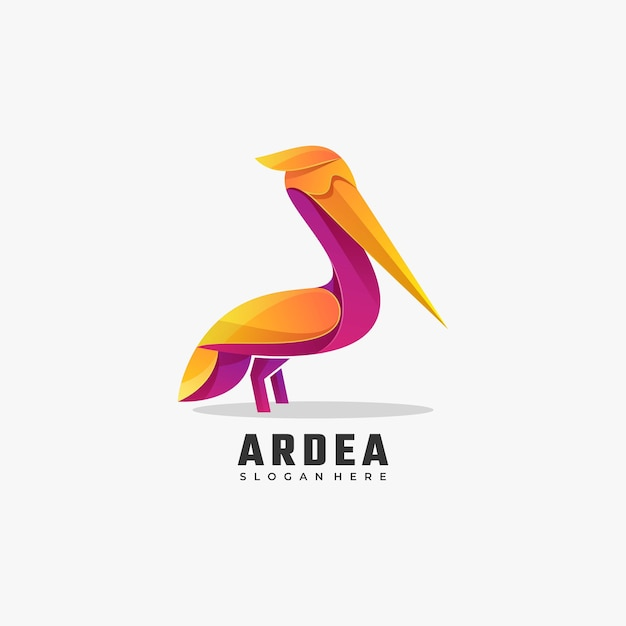 Vector Logo Illustration Heron Gradient Style Coloré. Vecteur Premium