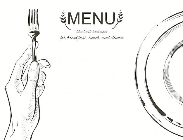 Vector mains tenant un couteau et une fourchette Vecteur Premium