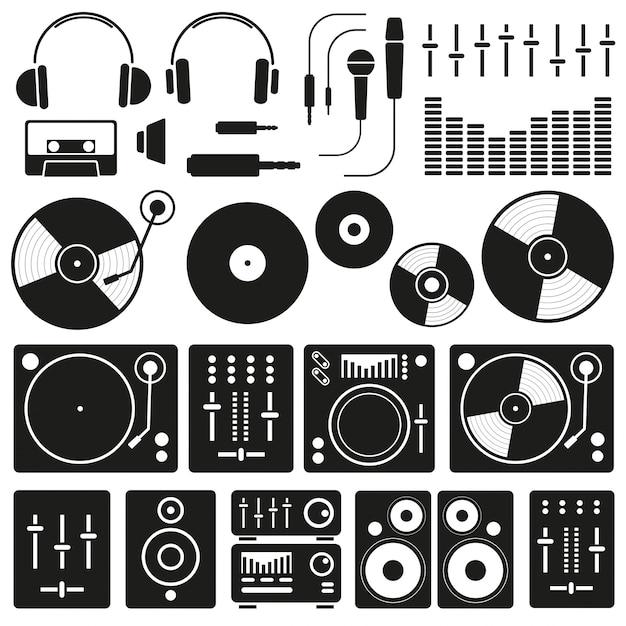 Vector music icons of dj personnel et tout ensemble d'équipement Vecteur Premium