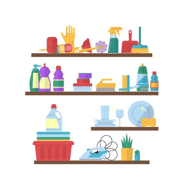 Vector, nettoyage des éléments plats sur l'illustration des étagères Vecteur Premium