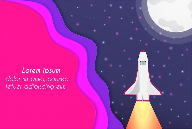 Vector paper cut et l'univers Vecteur Premium