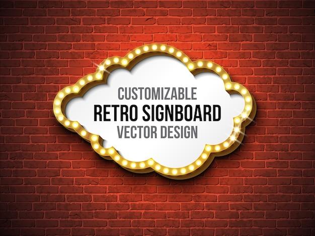 Vector rétro enseigne ou illustration de lightbox Vecteur Premium