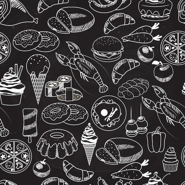 Vector Seamless Food Sur Tableau Noir Pour Fonds D'écran. Principalement Utilisé Dans Les Conceptions De Restaurants. Vecteur gratuit