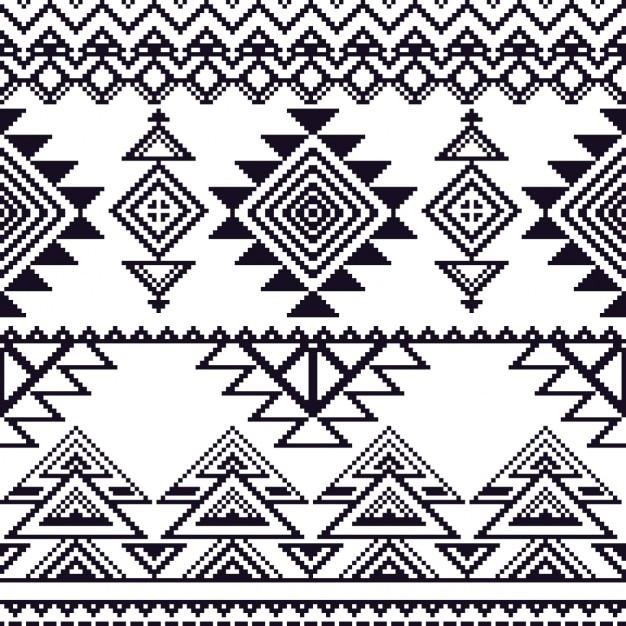 Vector seamless mono style tribal Vecteur gratuit