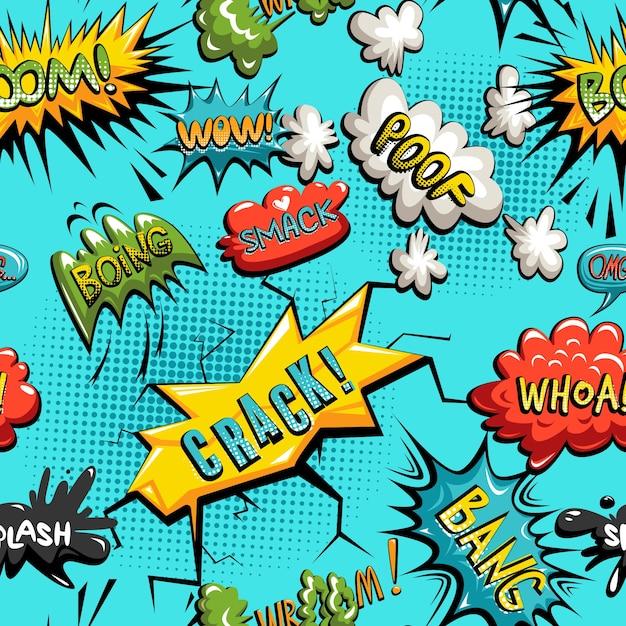 Vector seamless pattern of comic speech bubble Vecteur gratuit