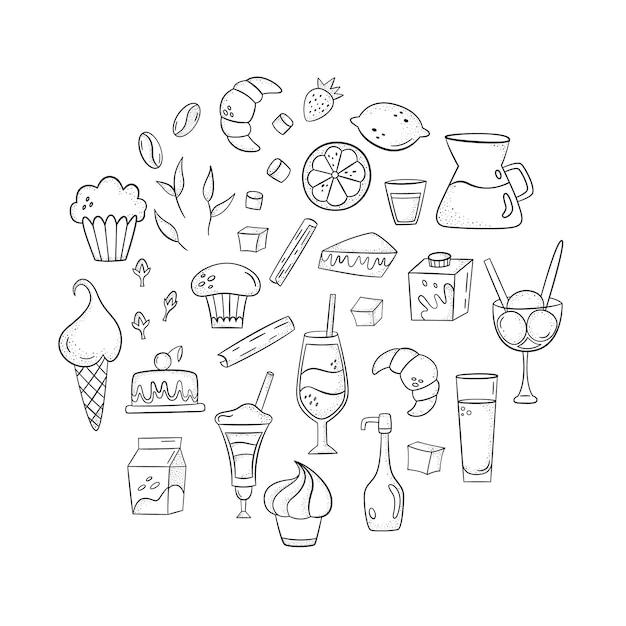 Vector sertie de café additifs, des desserts et des boissons. style dessiné à la main Vecteur Premium