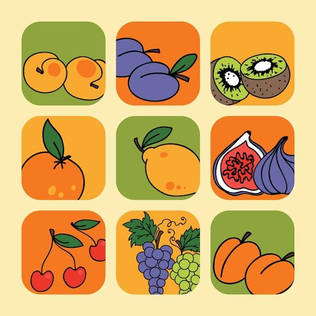 Vector Sertie D'icônes De Fruits Vecteur Premium