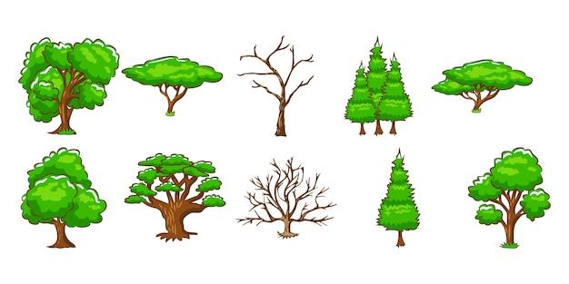 Vector set d'arbres clipart design Vecteur Premium