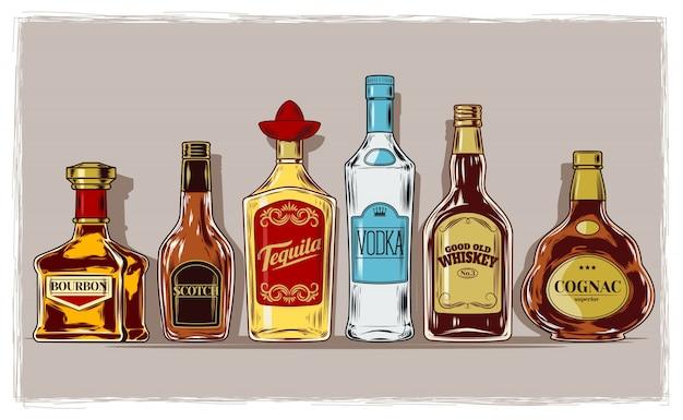 Vector set of bottles with alcohol and stemware Vecteur gratuit