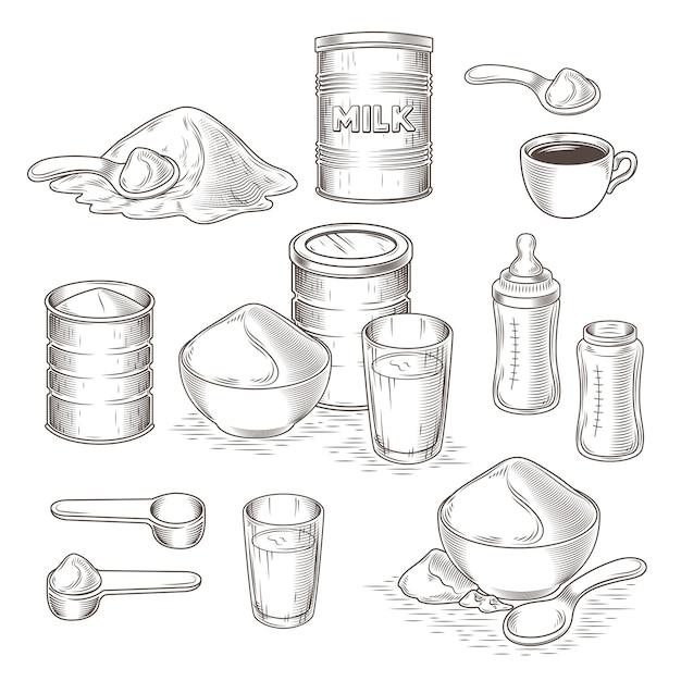 Vector set of cartoon illustration de lait en poudre Vecteur gratuit