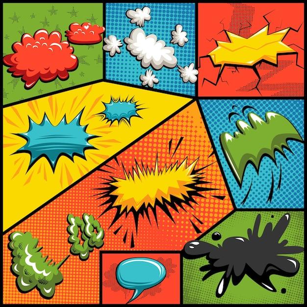 Vector set of comics explosion bubbles Vecteur gratuit