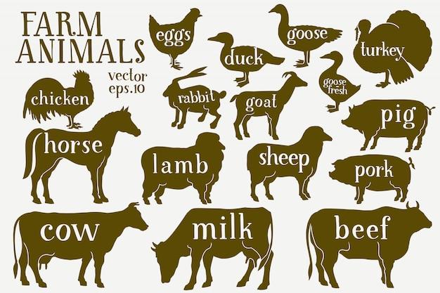 Vector silhouettes d'animaux de ferme dessinés à la main. Vecteur Premium