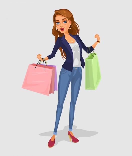 Vector smiling girl-shopper Vecteur gratuit