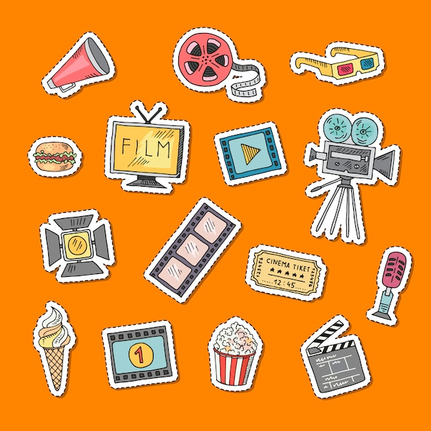 Vector stickers doodle set illustration Vecteur Premium