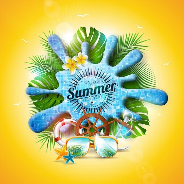 Vector summer design avec éclaboussure d'eau de piscine et feuilles tropicales Vecteur Premium